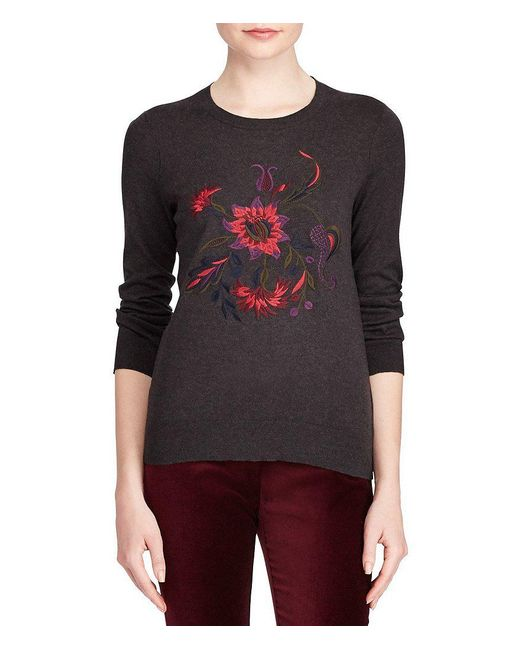 Lauren by Ralph Lauren | Gray Petite Floral Embroidered Cotton Sweater | Lyst
