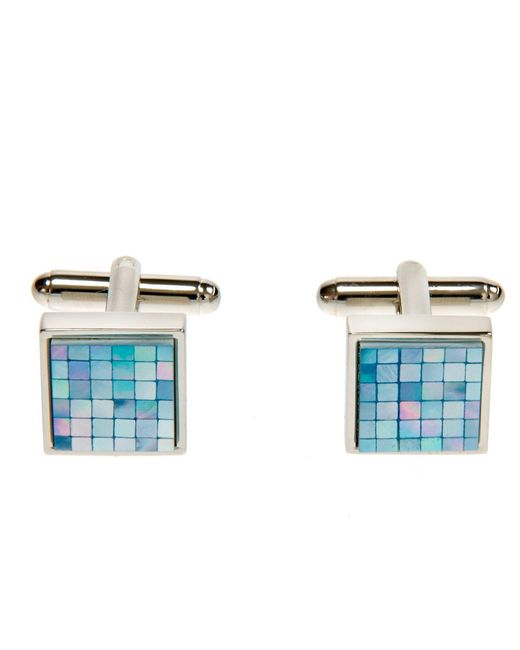 Simon Carter - Chequer Blue Mother Of Pearl Cuff Links for Men - Lyst