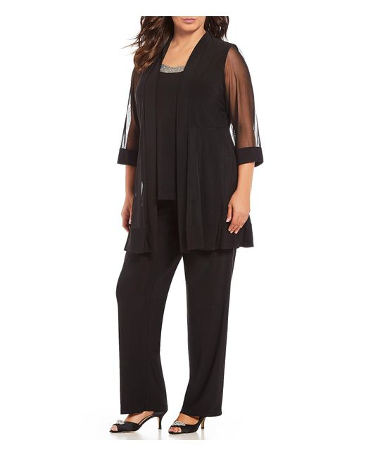 R & M Richards Black Plus Mock 3-piece Beaded-neck Pant Set