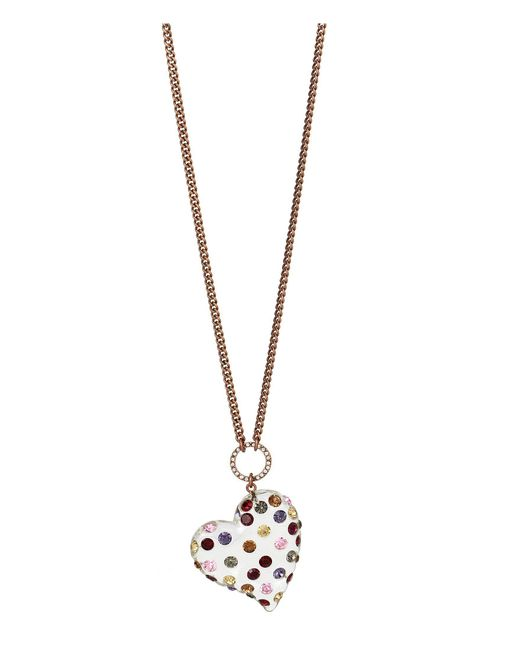 Betsey Johnson - Metallic Mixed Stone & Lucite Heart Pendant Necklace - Lyst