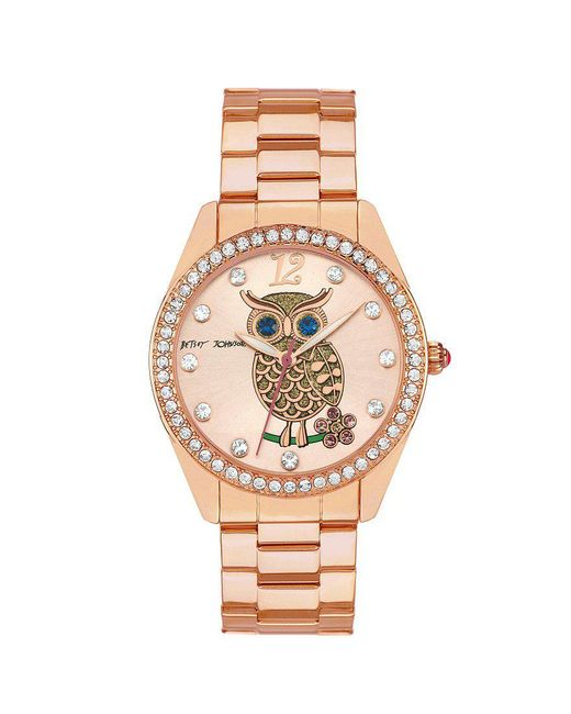 Betsey Johnson | Metallic Boxed Rose Gold Bracelet Crystal Index And Bezel Watch | Lyst