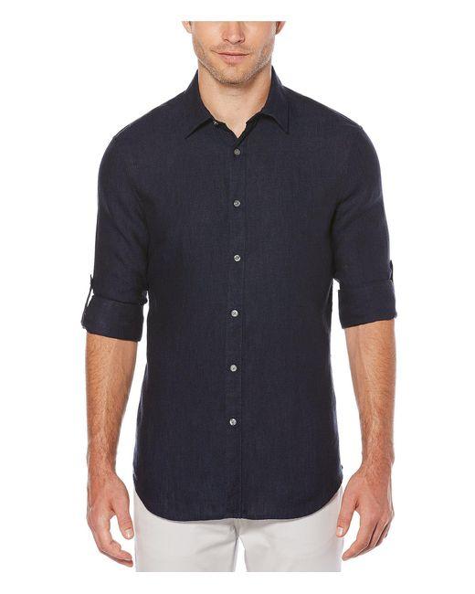 Perry Ellis Blue Solid Linen Long-sleeve Woven Shirt for men