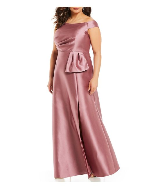 4071a38f5f1ff Adrianna Papell - Pink Plus Size Off-the-shoulder Side Slit Ballgown - Lyst  ...