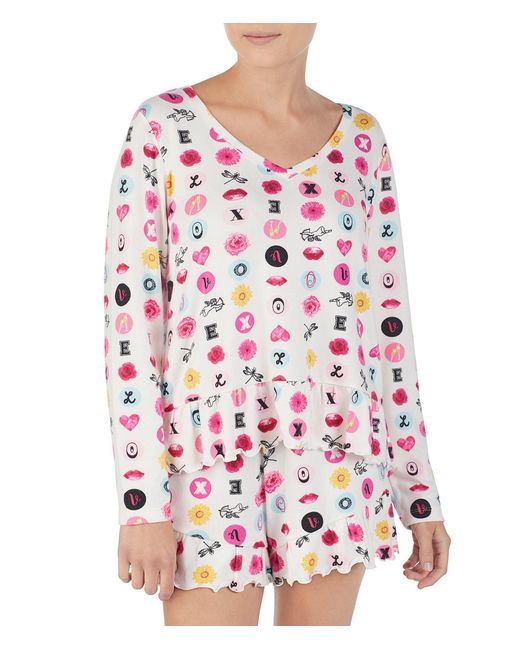 Betsey Johnson White Icons & Love Printed Knit Sleep Top