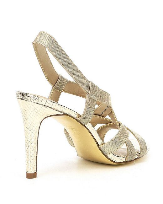 Adrianna Papell Addie Metallic Strappy Elastic Dress Sandals 61Hywy