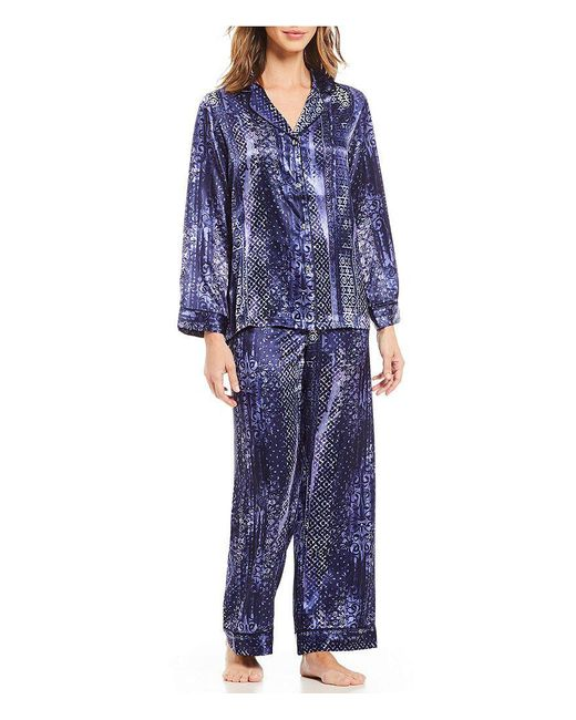 Oscar de la Renta | Blue Abstract Geometeric Charmeuse Pajamas | Lyst
