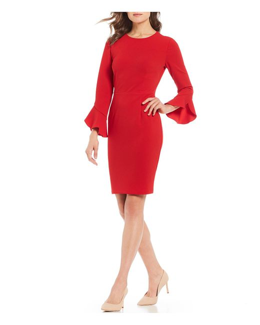 Donna Morgan - Red Crepe Ruffle Sleeve Sheath Dress - Lyst