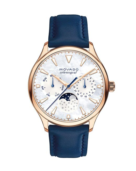 Movado - Blue Heritage Navy Strap And Rose Gold Case Watch - Lyst