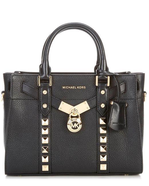 MICHAEL Michael Kors Black Nouveau Hamilton Leather Small Satchel Bag