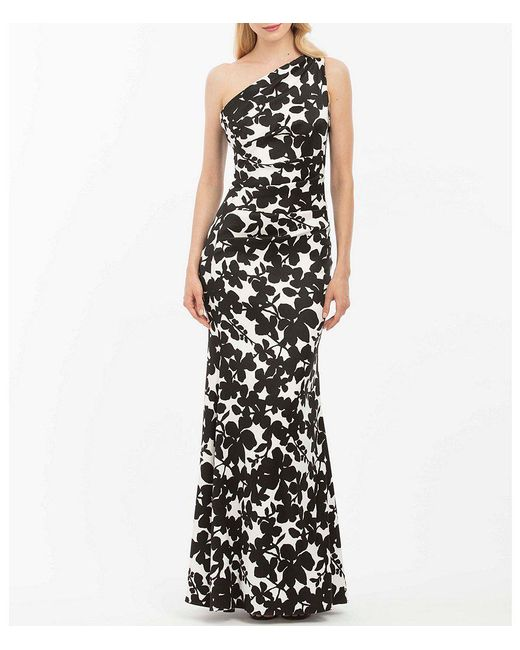 Nicole Miller - Black One Shoulder Floral Gown - Lyst
