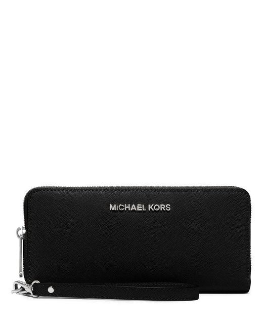 MICHAEL Michael Kors - Black Silver-tone Jet Set Continental Multifunction Phone Wallet - Lyst