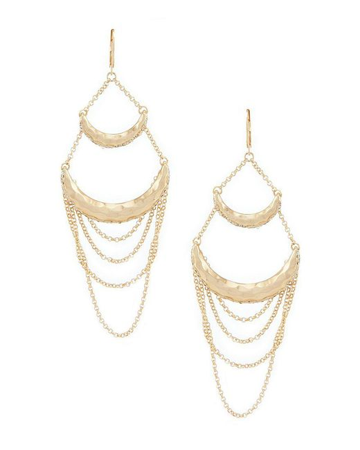 Belle By Badgley Mischka - Metallic Double Bar Chain Drop Statement Earrings - Lyst