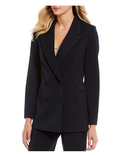 Gianni Bini Blue Noah Notch Lapel Long Sleeve Double Breast Jacket