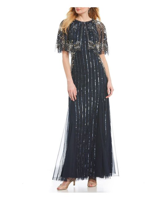 Adrianna Papell Black Beaded Caplet Gown
