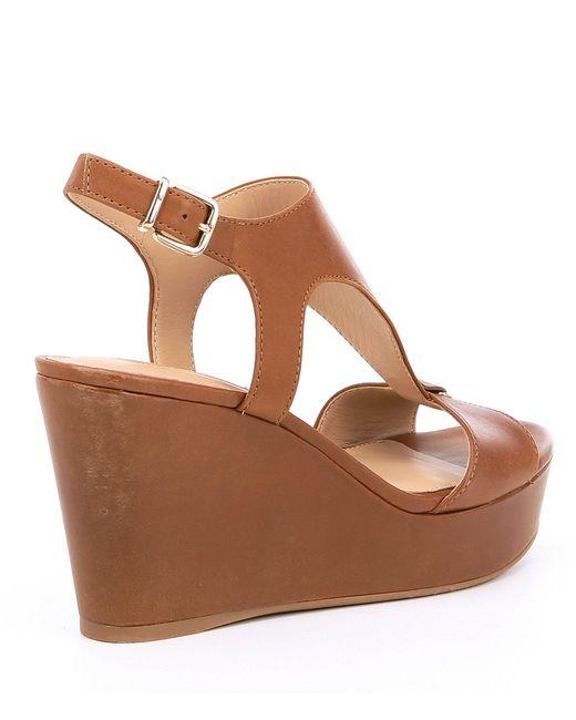 43413b483dd8 ... Antonio Melani - Brown Paetyn Leather Ankle Strap Platform Wedges -  Lyst ...