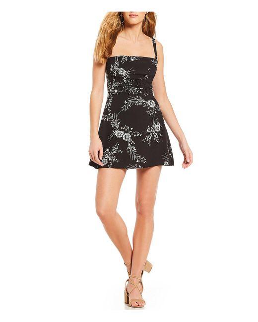 Flynn Skye - Black Mischa Floral Print Lace-up Corset A-line Mini Dress - Lyst