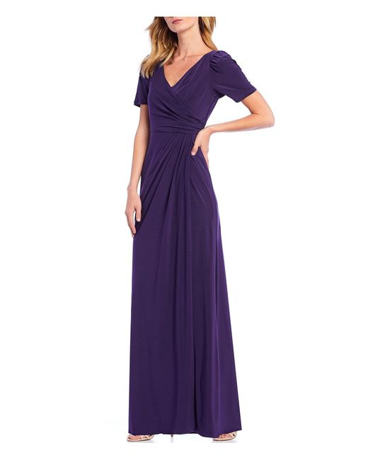 Adrianna Papell Purple Petite Size Draped Ruched Detail Jersey V-neck Long Gown