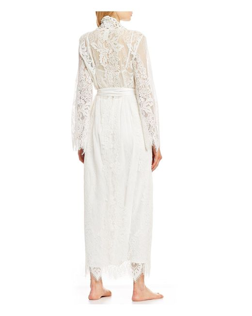 f1f3ee7ca ... Jonquil - White Jasmine Chiffon   Corded Lace Long Wrap Robe - Lyst