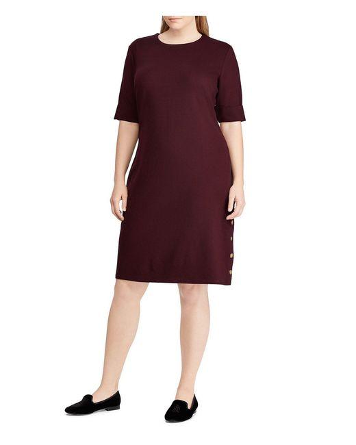 Lauren by Ralph Lauren - Purple Plus Size Button Trim Ponte Shift Dress - Lyst
