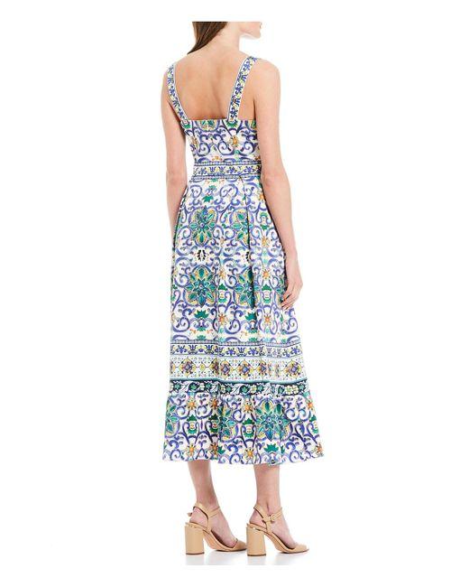 1dd38be0fcaec ... Antonio Melani - Blue Paige Mosaic Print Sateen Square Neck Midi Dress  - Lyst ...