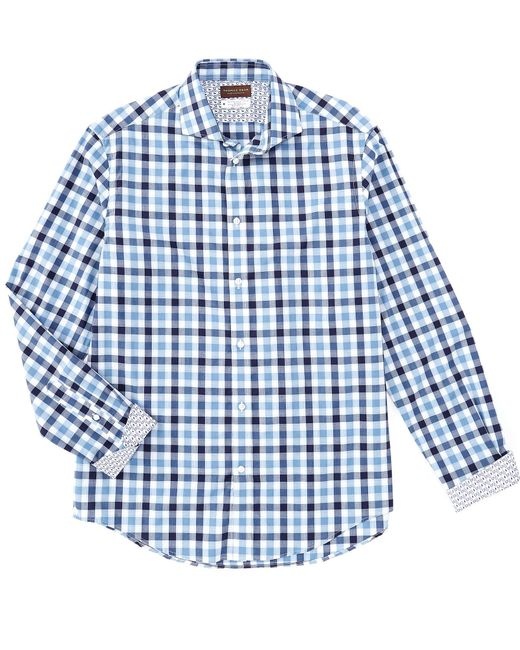 Thomas Dean Check Blue Long-sleeve Woven Shirt for men