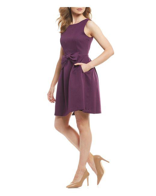 Tahari - Purple Petite Bow Front A Line Dress - Lyst