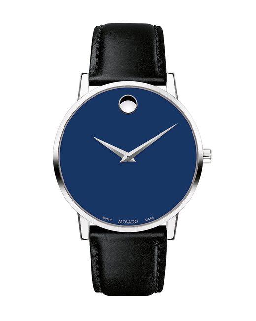 Movado Museum 40mm Classic Black Calfskin Strap Watch for men