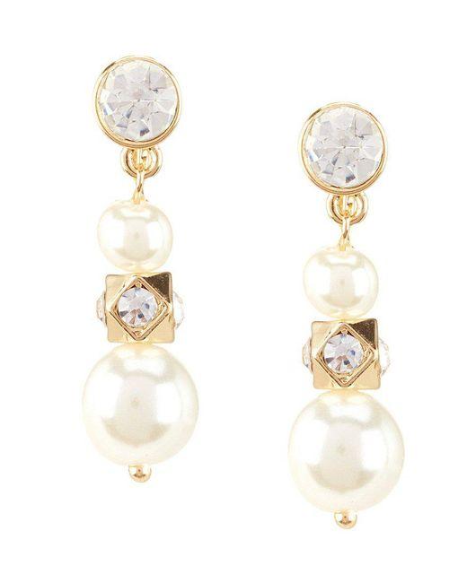 Anne Klein   Metallic Faux-pearl Triple-drop Clip-on Earrings   Lyst