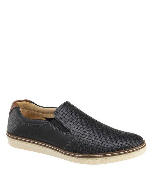 Johnston & Murphy Black Men ́s Mcguffey Woven Leather Slip-on Shoes for men