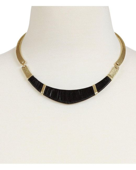 Lucky Brand | Metallic Leather-wrapped Hammered Collar Necklace | Lyst