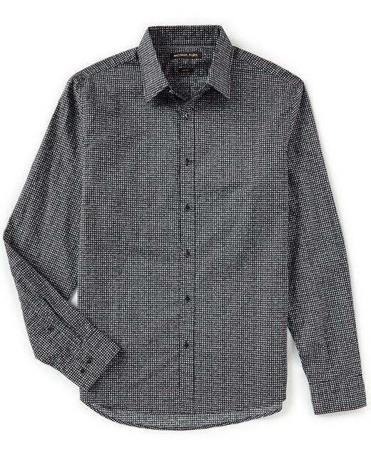 Michael Kors - Gray Slim-fit Houndstooth Long-sleeve Woven Shirt for Men - Lyst