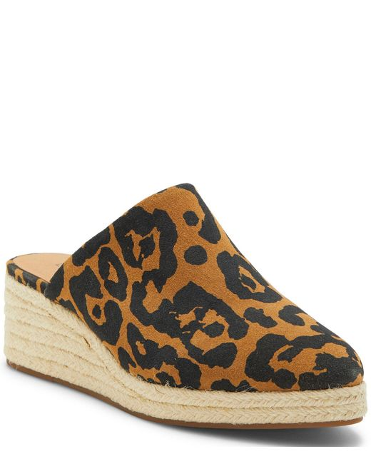 Lucky Brand Brown Luceina Leopard Print Suede Wedge Espadrille Mules