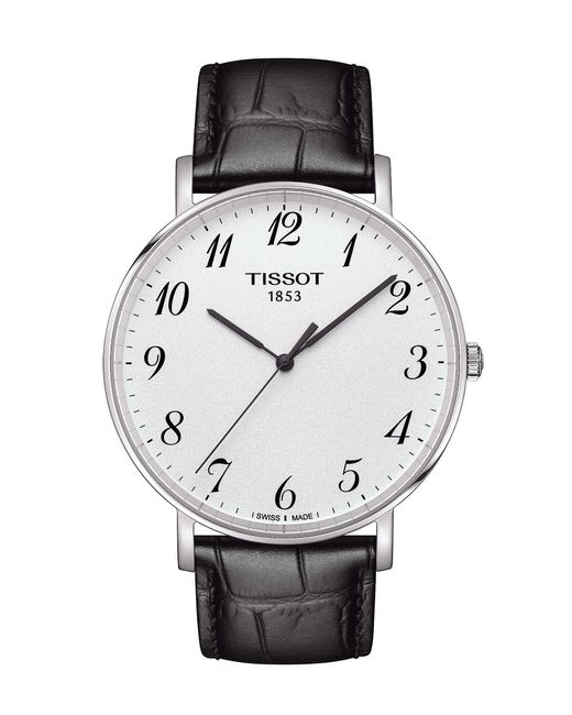 Tissot - Everytime Men's Black Silver Dial Leather Strap Watch for Men - Lyst