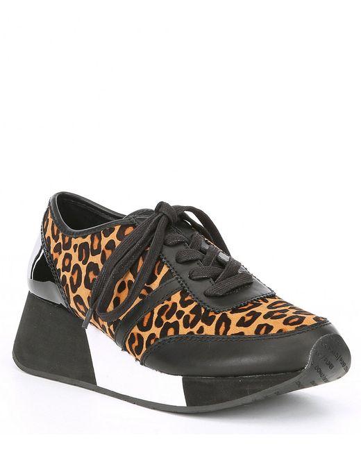 Donald J Pliner Black Payce Leather Leopard Print Calf Hair Sneakers