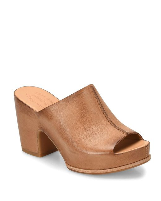 Kork-Ease Brown Santa Ana Peep-toe Block Heel Slides