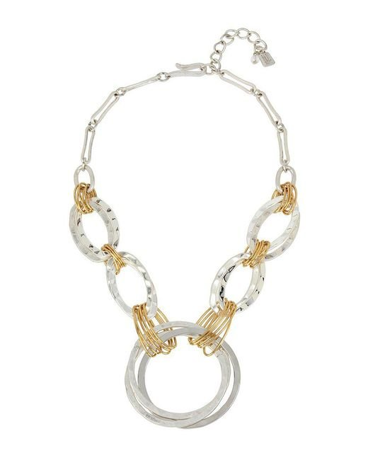 Robert Lee Morris - Metallic Wire-wrapped Hammered Circle Frontal Necklace - Lyst