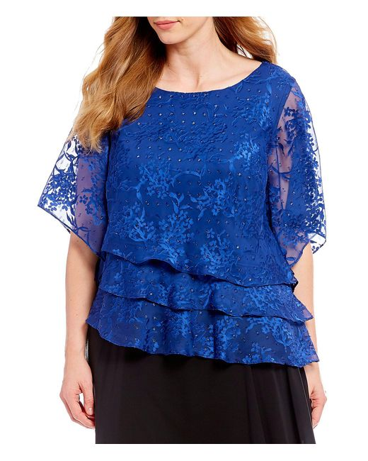Alex Evenings - Blue Plus Size Lace Illusion Sleeve Asymmetric Tiered Blouse - Lyst