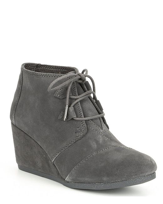 TOMS - Gray Kala Grey Wedge Booties - Lyst