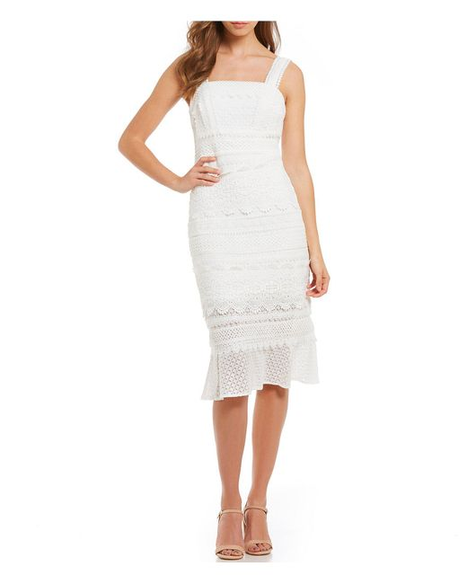 Nicole Miller - White Crochet Lace Midi Dress - Lyst