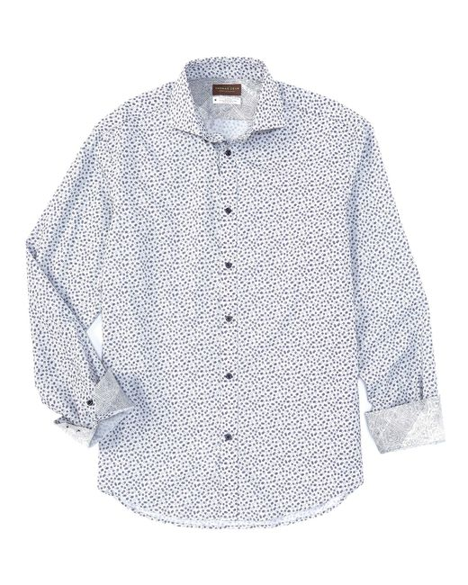 Thomas Dean Blue Circle Dot Print Long-sleeve Woven Shirt for men