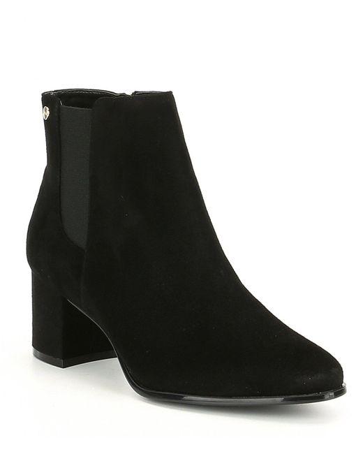 Calvin Klein - Black Fisa Suede Block Heel Booties - Lyst