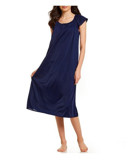 Miss Elaine Blue Embroidered Flutter-sleeve Midi Nightgown