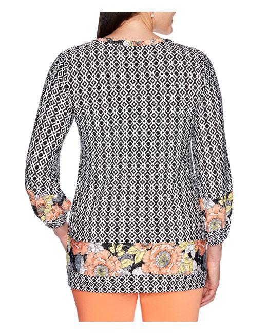9eef99b1206 ... Ruby Rd - Black Split V-neck Diamond Tile Poppy Border Print Knit Top -