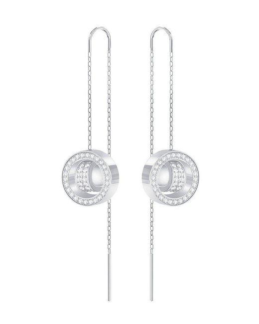 Swarovski - Metallic Hollow Crystal Threader Drop Earrings - Lyst