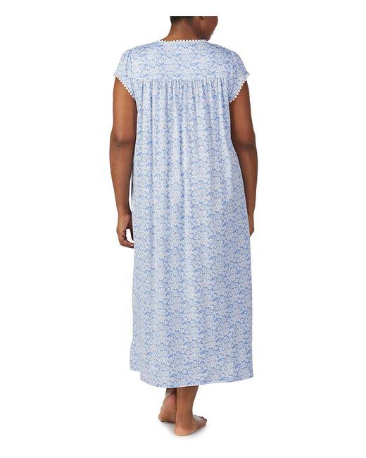 cbc361ec29 ... Eileen West - Blue Plus Floral-printed Jersey Ballet Knit Gown - Lyst