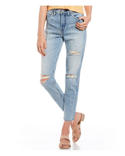 Silver Jeans Co. - Blue Mom Destructed Crop Jeans - Lyst