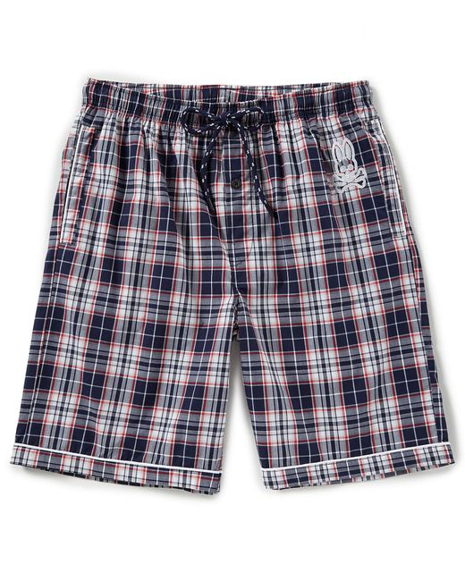 Psycho Bunny - Blue Woven Plaid Pajama Shorts for Men - Lyst