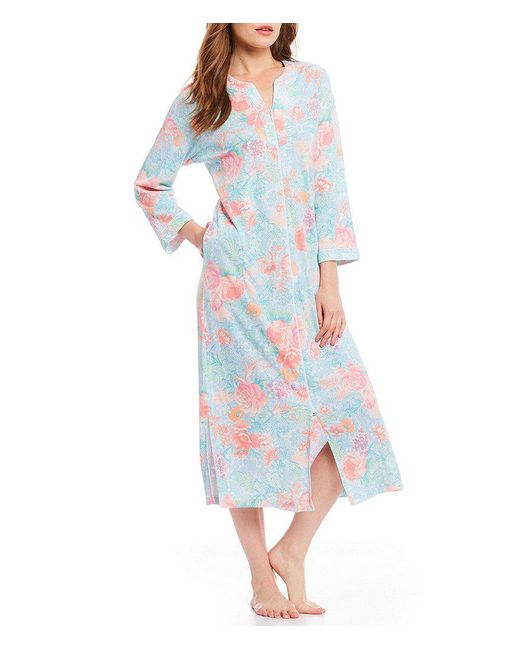 Miss Elaine - Blue Cottonessa Filagree-printed Zip-front Long Robe - Lyst