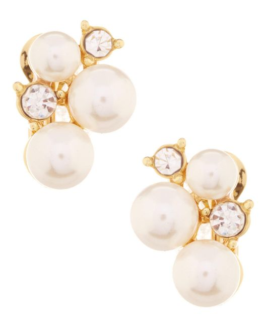 Anne Klein - Metallic Faux-pearl Cluster Clip-on Earrings - Lyst