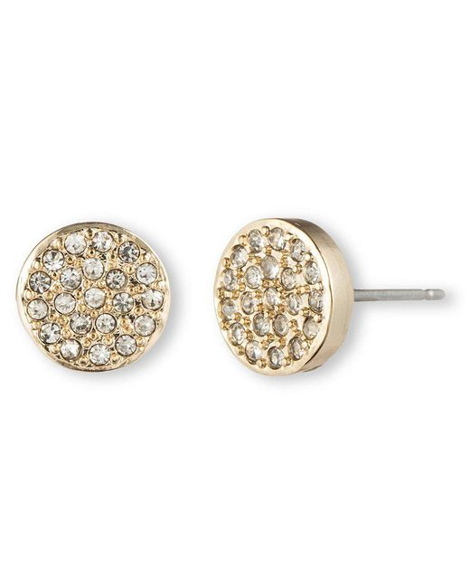 Anne Klein | Metallic Pavé Button Earrings | Lyst